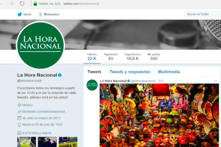 Percepción de La Hora Nacional en Twitter